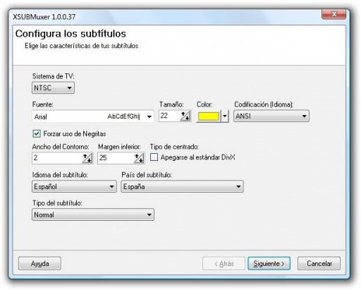 Opcións principais do XSUBMuxer