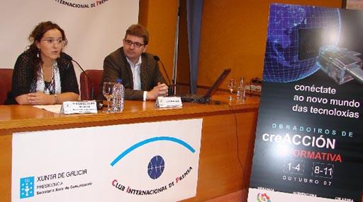 Loli e Javier Monjas na presentación dos obradoiros