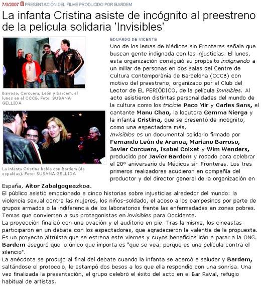 A Infanta Cristina en El Periódico