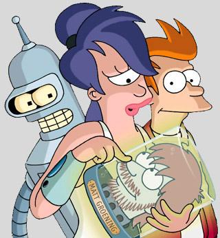 Los protas de Futurama junto a la cabeza de Matt Groening