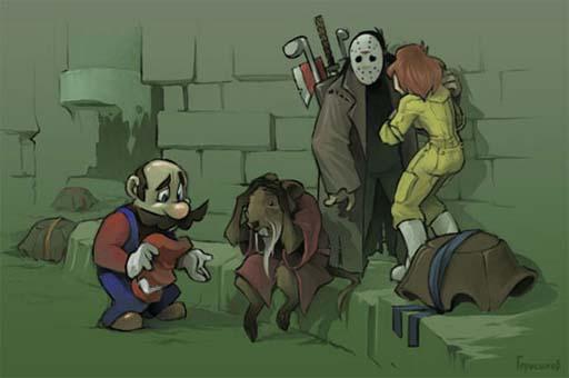 Mario mata a unha tartaruga ninja