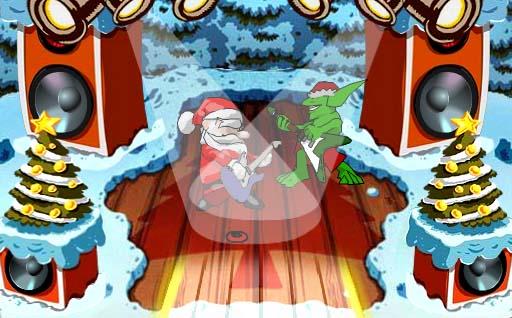 Santa rockanroleando co Grinch