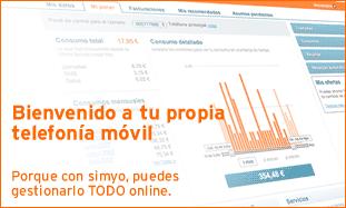 A web de Simyo permite xestionar os nosos servizos