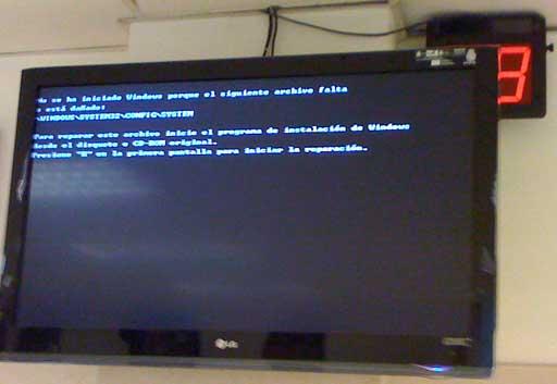 pantalla da Comisaría con erro