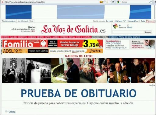 proba de obituario de Manuel Fraga en La Voz de Galicia