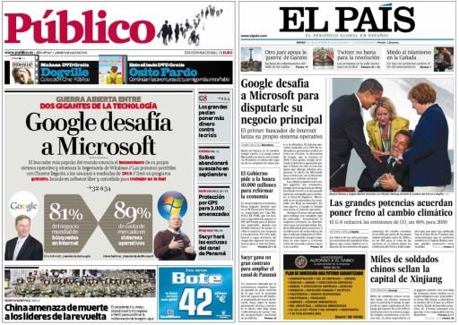 Portadas de Público e El País