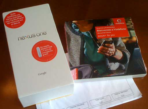 Caixa do Nexus One de Vodafone