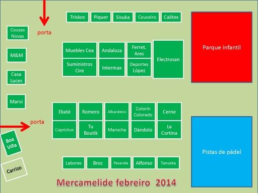 Distribución dos espazos en Mercamelide publicada por ASETEM