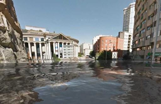 Pazo de Congresos da Coruña baixo a auga