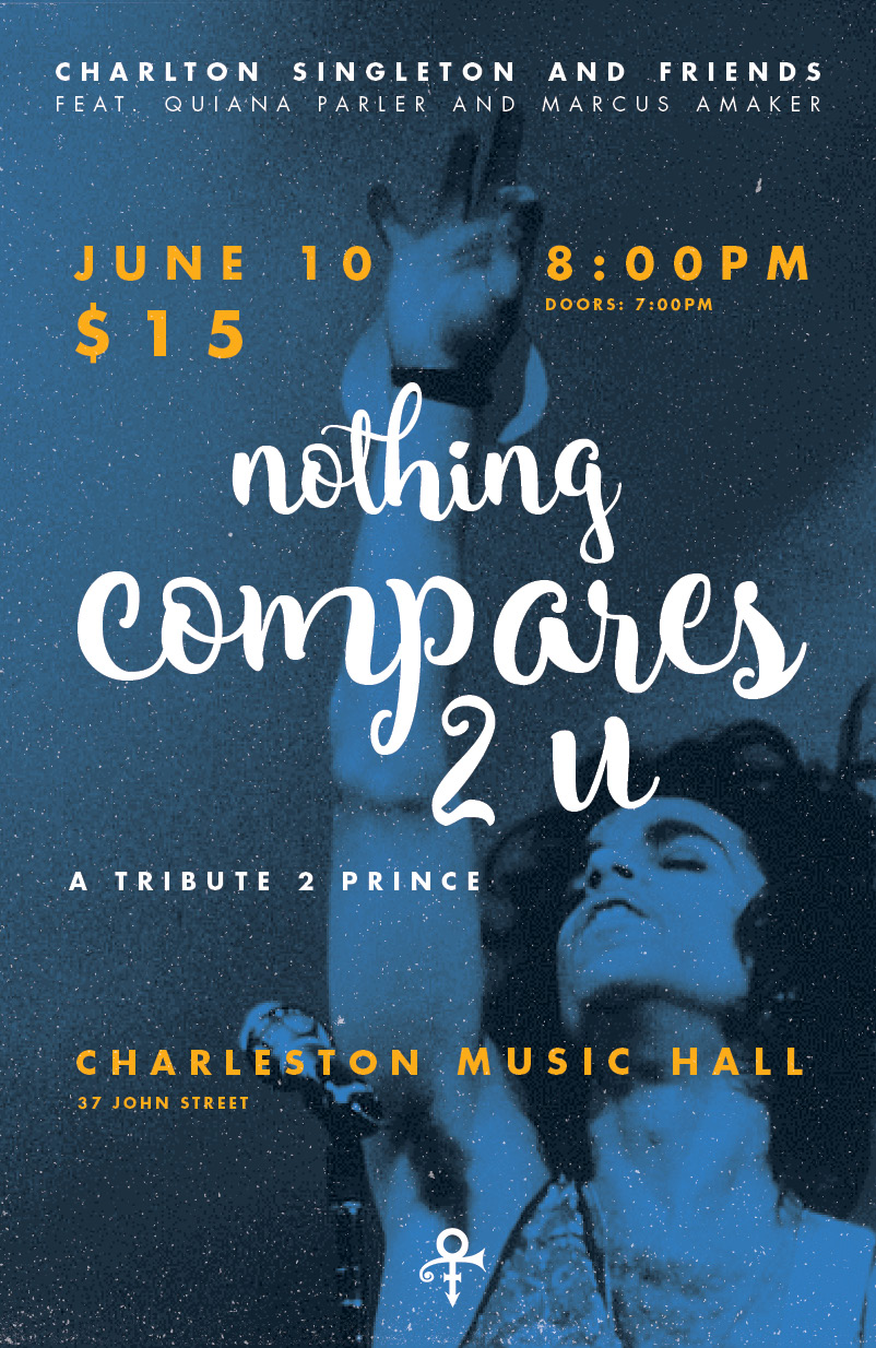 Poster design for a Prince tribute show at the Charleston Music Hall.