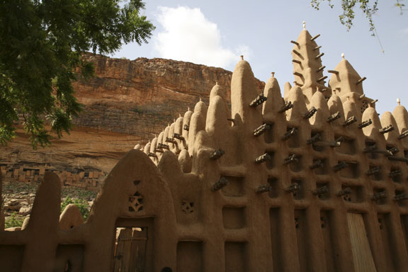 mud mosque and cliff dwellings, Dogon country