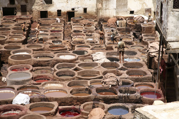 vats for dying leather; Fez, Morocco
