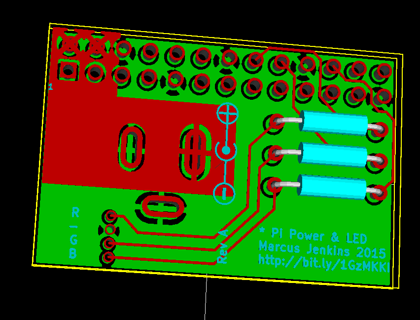 Power Connector Adaptor for Raspberry Pi With RGB LED