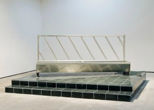 Marcus Kleinfeld, EMPIRE, 2010 Partially destroyed marble plinth, rubble, feeding trough 169 x 365 x 305 cm