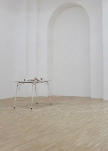 Marcus Kleinfeld, POTENTIAL, 2011 Table, electrical fencing plugs, electrical wire, mannequin hands 75 x 90 x 60 cm