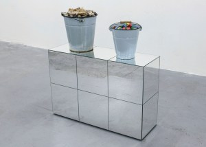 Marcus Kleinfeld, REALISATION, 2014 2 buckets, bones, toy bricks, mirrored plinth 100 x 90 x 30 cm