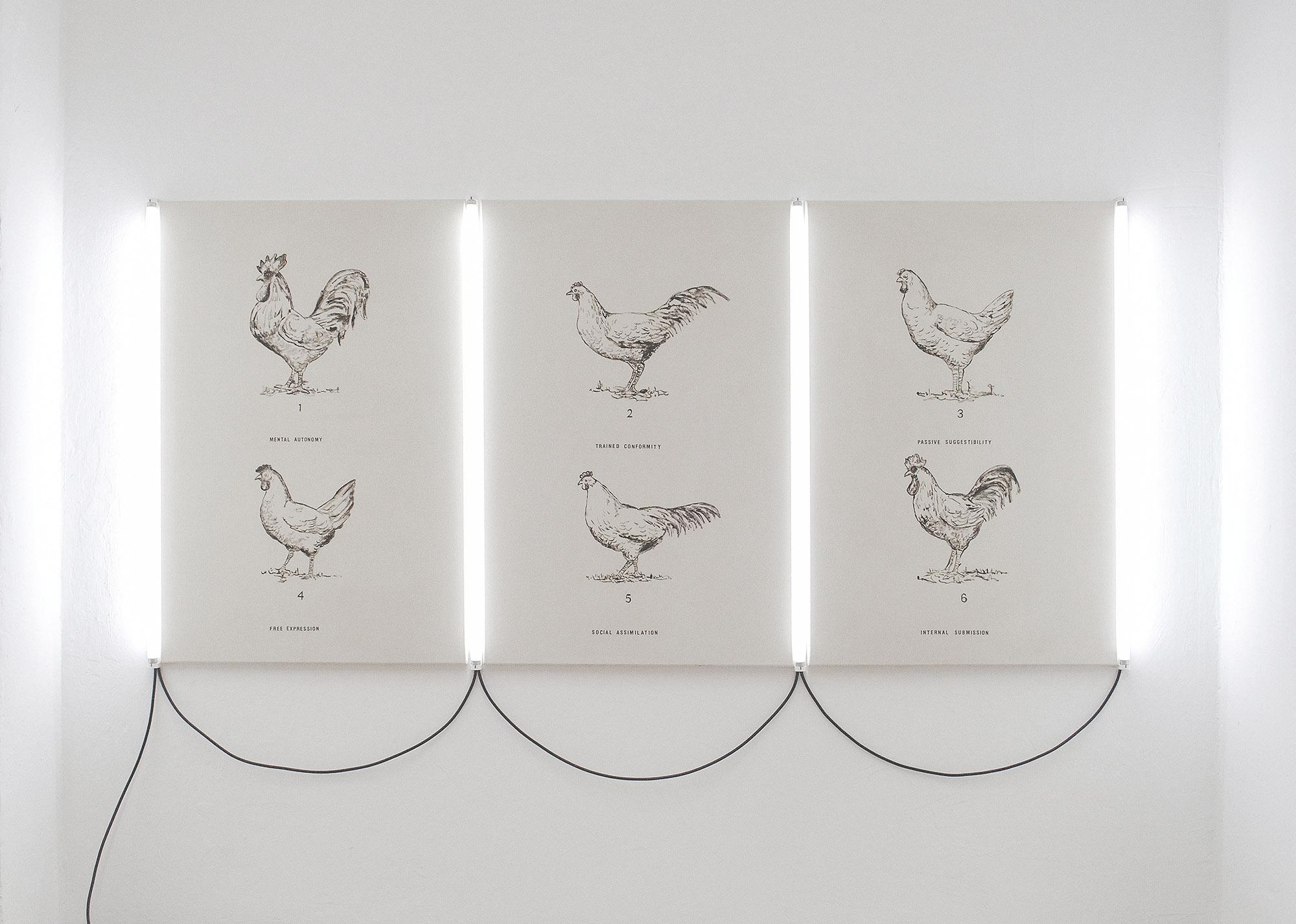 Marcus Kleinfeld, SOCIAL FORMATION, 2011 Oil on canvas, 4 UV tubes 152 x 256 cm (Triptych)