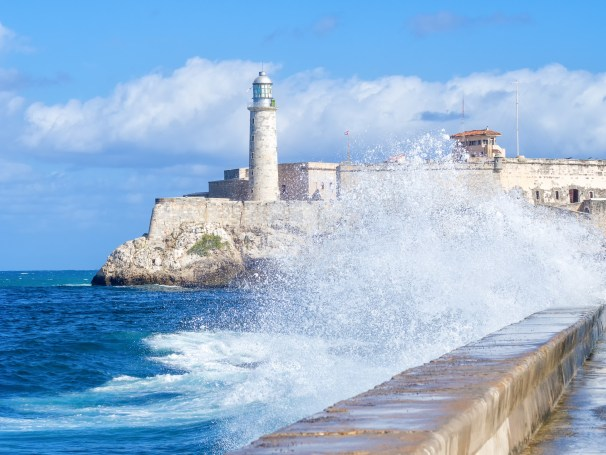 The Morro Castle in Havana with a stormy ocean