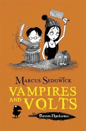 UK cover of Vampires and Volts showing Solstice and Cudweed carving pumpkins.
