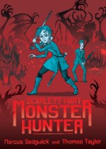 Cover of Scarlett Hart showing Scarlett waving a sword and Napoleon waving an umbrella, both surrounded by monsters.