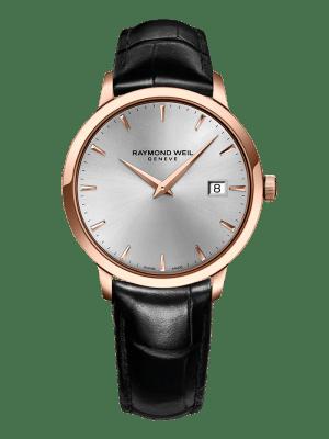 Raymond Weil Toccata Quartz Sølv Skive Rose PVD Sort Skinn Rem 39 MM-5488-pc5-65001