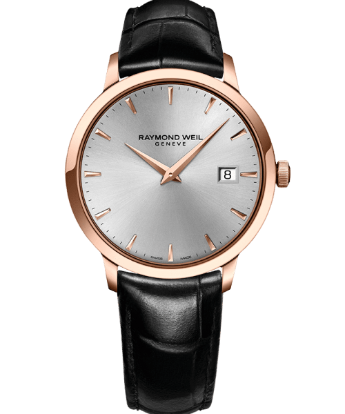 Raymond Weil Toccata Quartz Sølv Skive Rose PVD Sort Skinn Rem 39 MM-5488-pc5-65001