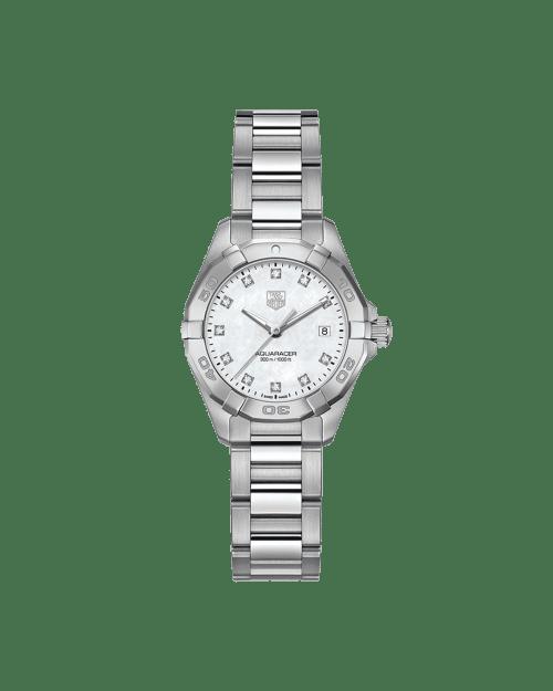 Tag Heuer Aquaracer Quartz Hvit Pelemor Diamant Skive Stål 27 MM WAY1413-BA0920