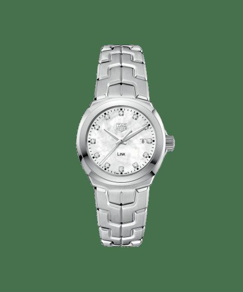 Tag Heuer Link Quartz Hvit Perlemor Diamant Skive Stål 32 MM -WBC1312-BA0600