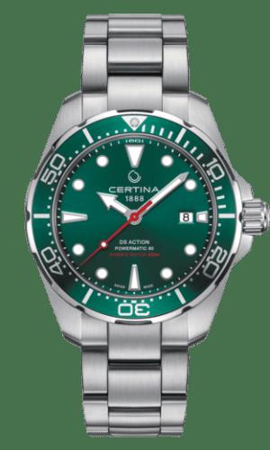 Certina DS Action Diver Powermatic 80 Automatisk Grønn Skive Stål 43 MM C032.407.11.091.00
