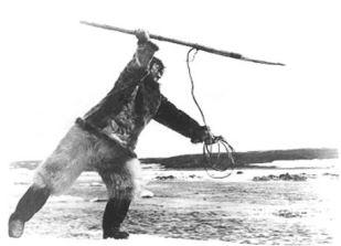 Eskimo speer met koord
