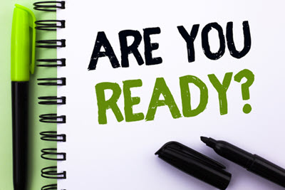 Text sign showing Are You Ready Question. Conceptual photo Be Prepared Motivated Warned Readiness Aware written on Notebook Book on the Green background Marker and Pen next to it.