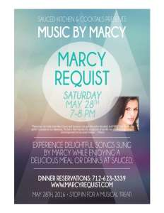 May 28th, 2016 Show featuring Marcy Requist at Sauced Italian Restaurant - Red Oak, IA