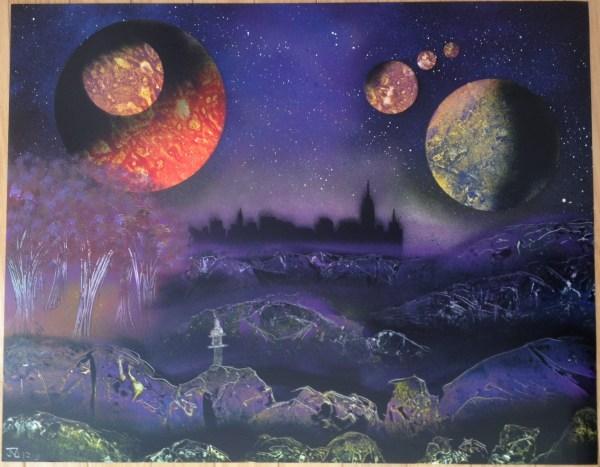 Midnight Central Park - Spray Paint Art