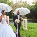 mariage, robe, bouquet, parapluie,