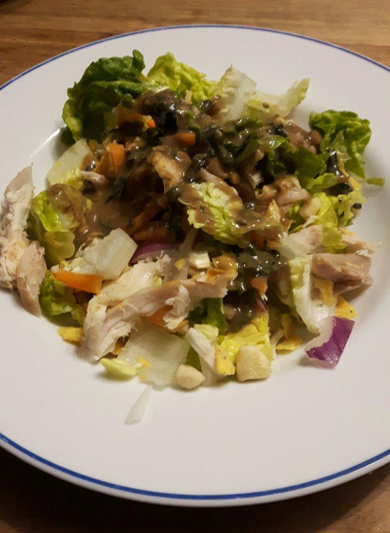 Chicken avocado salad with peanut butter-honey mustard vinaigrette recipe