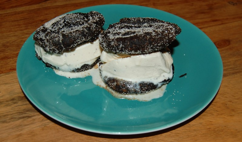 Oreo churros sandwiches with ice cream