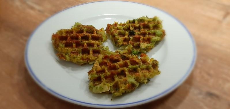 Broccoli waffles with yoghurt mustard dip recipe