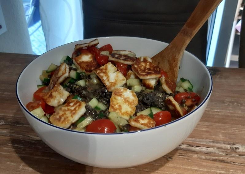 recipe for lentil halloumi salad