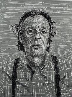"""Mike (2019) Glazed black and white string on painted Masonite (48 x 36"""")"""