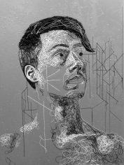 "CyberShaundon (2020) Glazed black and white string on painted Masonite (48 x 36"")"