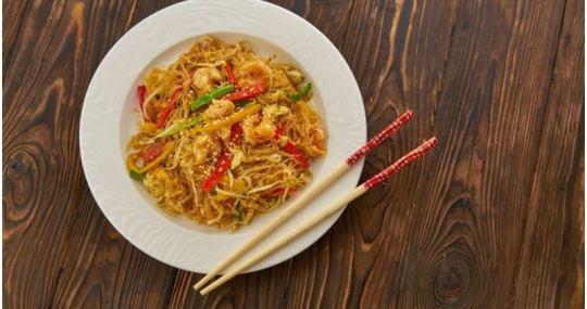 receta de noodles con langostinos y setas - Mares Lingua - Recetas de cocina