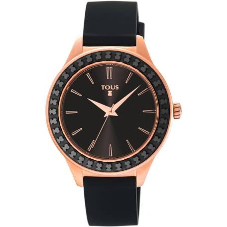 reloj tous straight ceramic 900350365 con caja de acero PVD oro rosa y bisel de ceramica negra