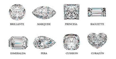 distintas tallas de diamantes