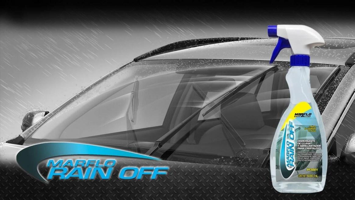 Dispersante de lluvia y limpiador abrillantador de cristales.
