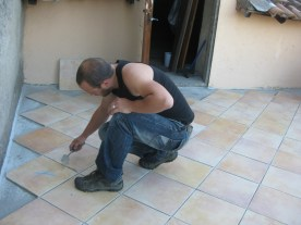 Next day: yet more tiling