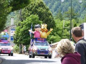 The Haribo float. Sarah caught a tiny bag of sweets flung in her general direction.