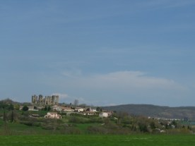 From a distance, the village of Lagarde, dominated by the Château.