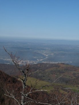 Down below, the road through Lavelanet, Laroque, Aigues-Vives, St. Quentin...and beyond.