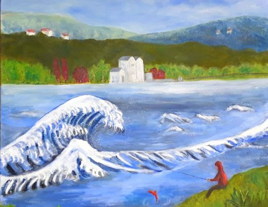 A tribute to Hokusai's Great Wave set on a local reservoir in a traditional landscape painting