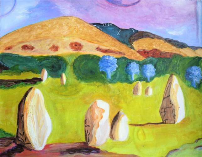A ring of standing stones , semi abstract style in   moorland landscape . Glowing yellow ochre , greens , yellow and blue  - a world of colour .